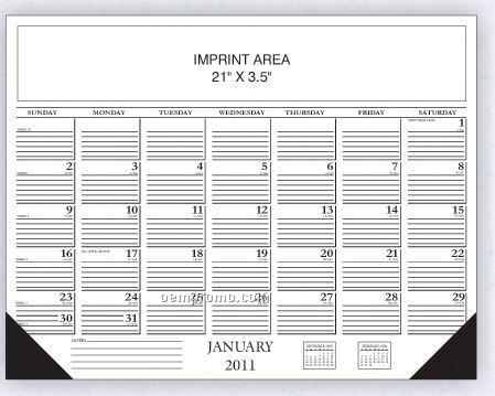 Black Desk Calendar W/ Lines & Date Boxes (Order After 8/31)