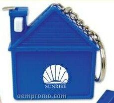 Blue House Shaped Tape Measure W/Keychain (Printed)