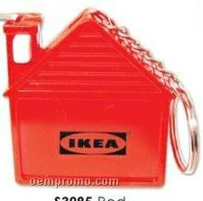 Red House Shaped Tape Measure W/Keychain (Printed)
