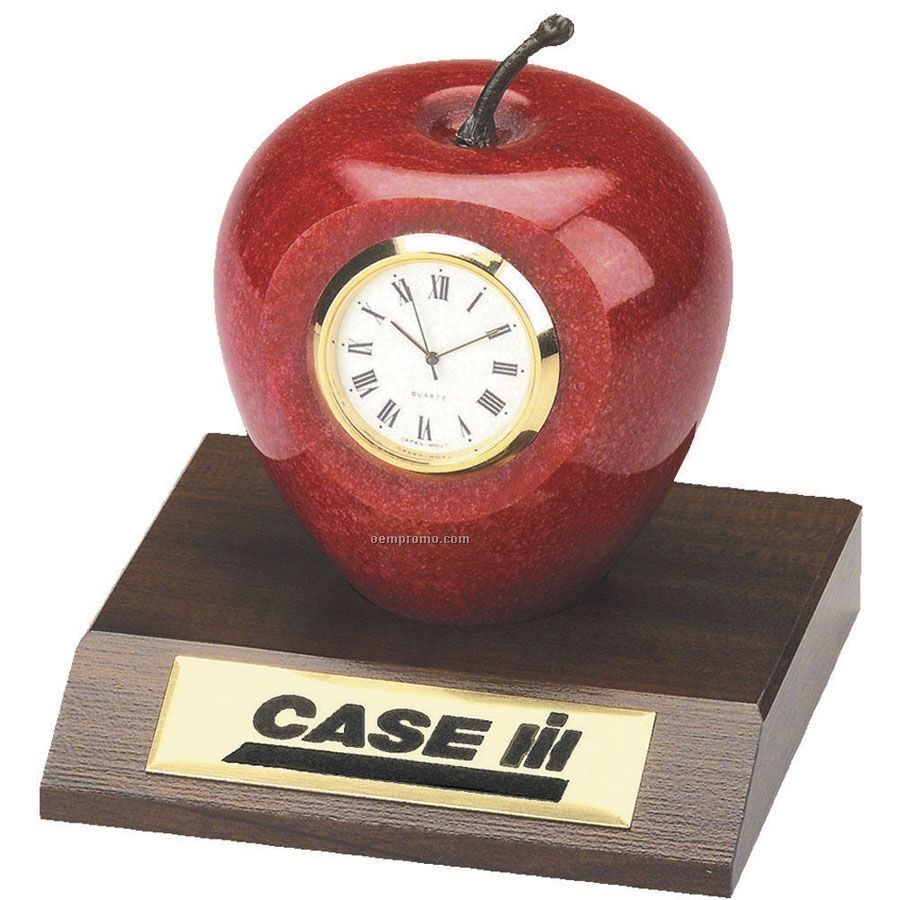 Genuine Marble Apple Clock