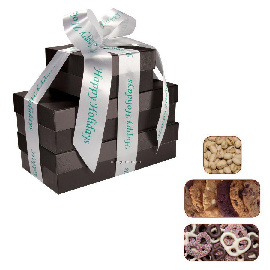 The Four Seasons Black Gift Tower W/ Pretzels, Cookies & Pistachios
