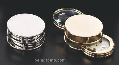 Deluxe Chrome Plated Brass Magnifier (2x) Compass & Paper Weight (Screen)