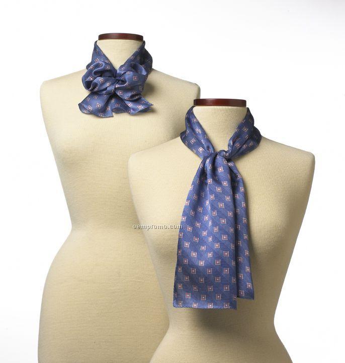 "Wolfmark Royal Blue Vasari Silk Scarf (45""X8"")"
