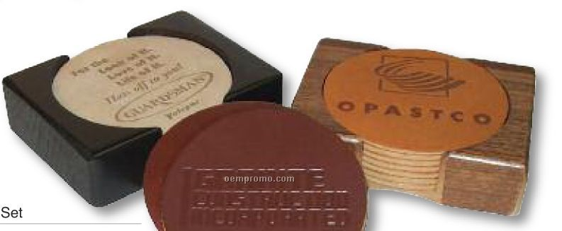 8 Pieces Leather Coaster Set W/ Natural Walnut Or Black Finish Bases