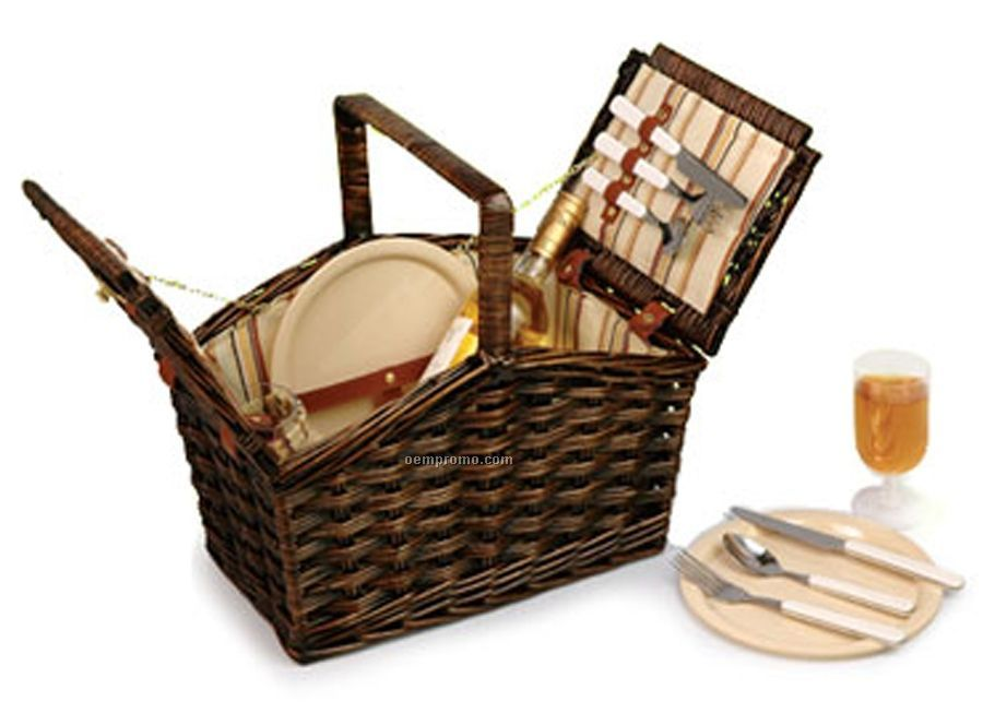 Stained Brown Willow Picnic Basket