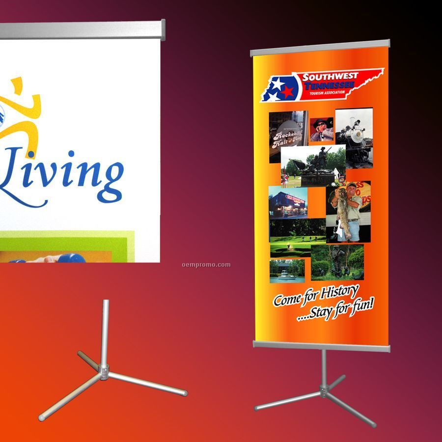 "Adjustable Banner Stand/ 2 - 31.5"" X 72"" Banners"