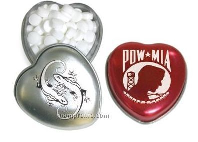 Heart Tin W/ Small Peppermints (2 Day Service)