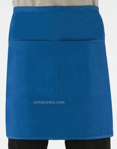 "Pinstripe Short Bistro Apron W/ 2 Divisional Pouch Pockets (19""X30"")"