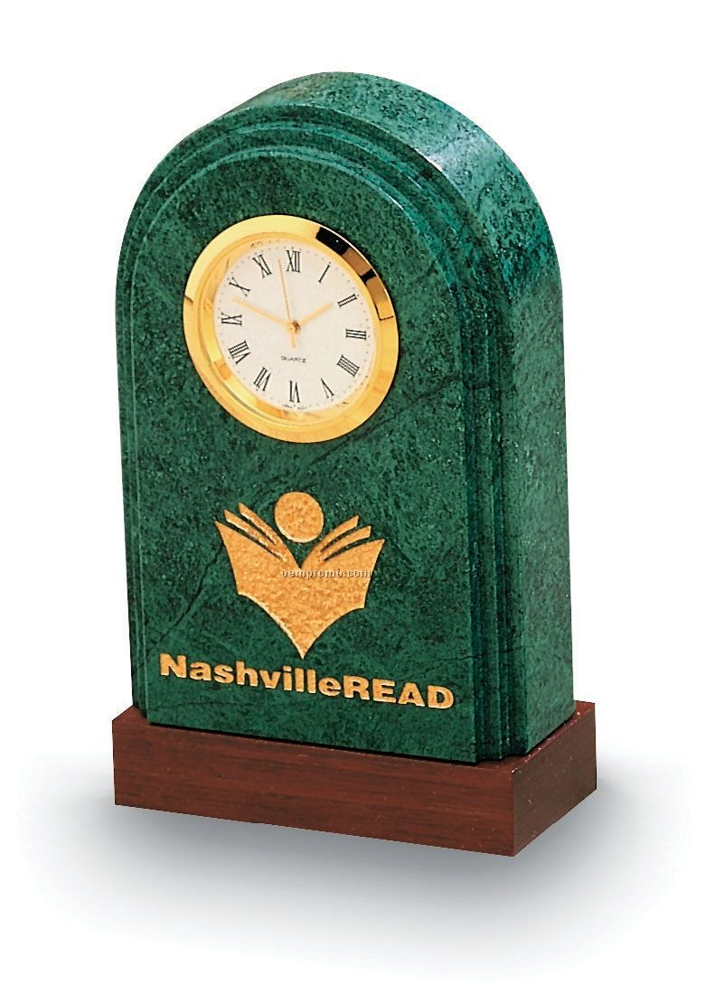 Arch Synergy Clock (Green Marble)