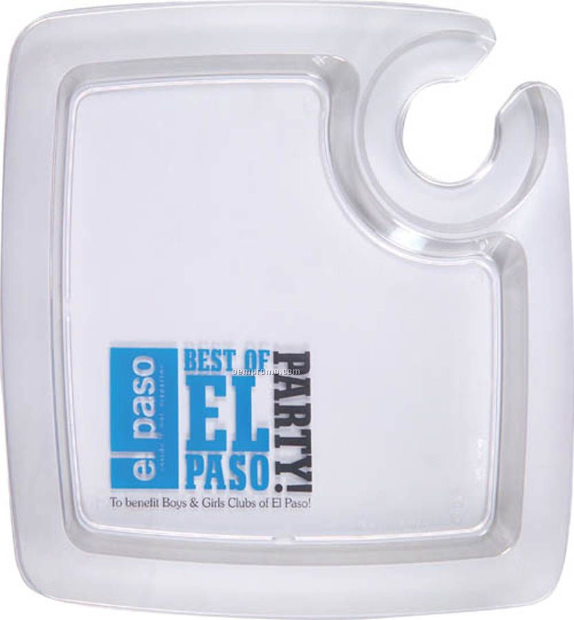 Clear Plastic Party Pal Plates - Frosted Rim
