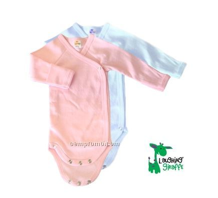Pastel Preemie Long Sleeve Poly/Cotton Side Snap Onesie With Mittens