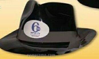 Plastic Gangster Hat W/Brim Black Fabric Ribbon (Unimprinted)