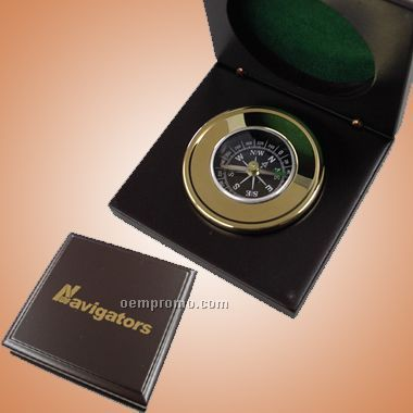 Brass Compass In Wooden Box (Screened)