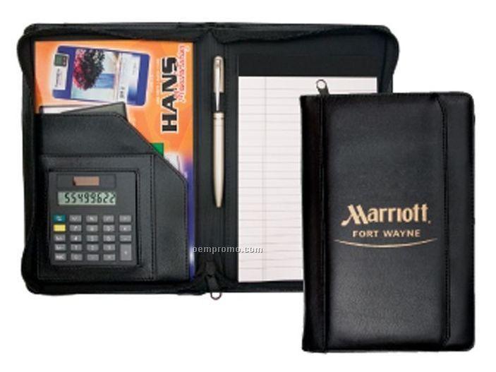 Junior Padfolio Folder W/Calculator And Zipper