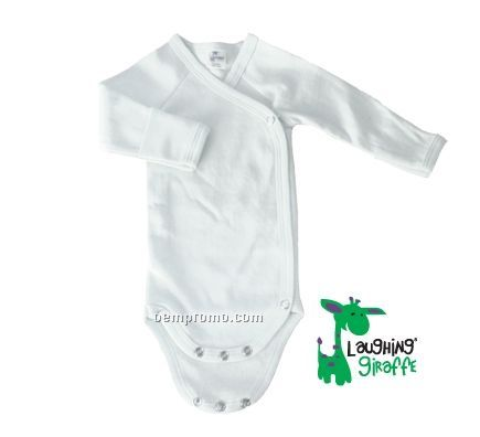 White Preemie Long Sleeve Poly/Cotton Side Snap Onesie With Mittens