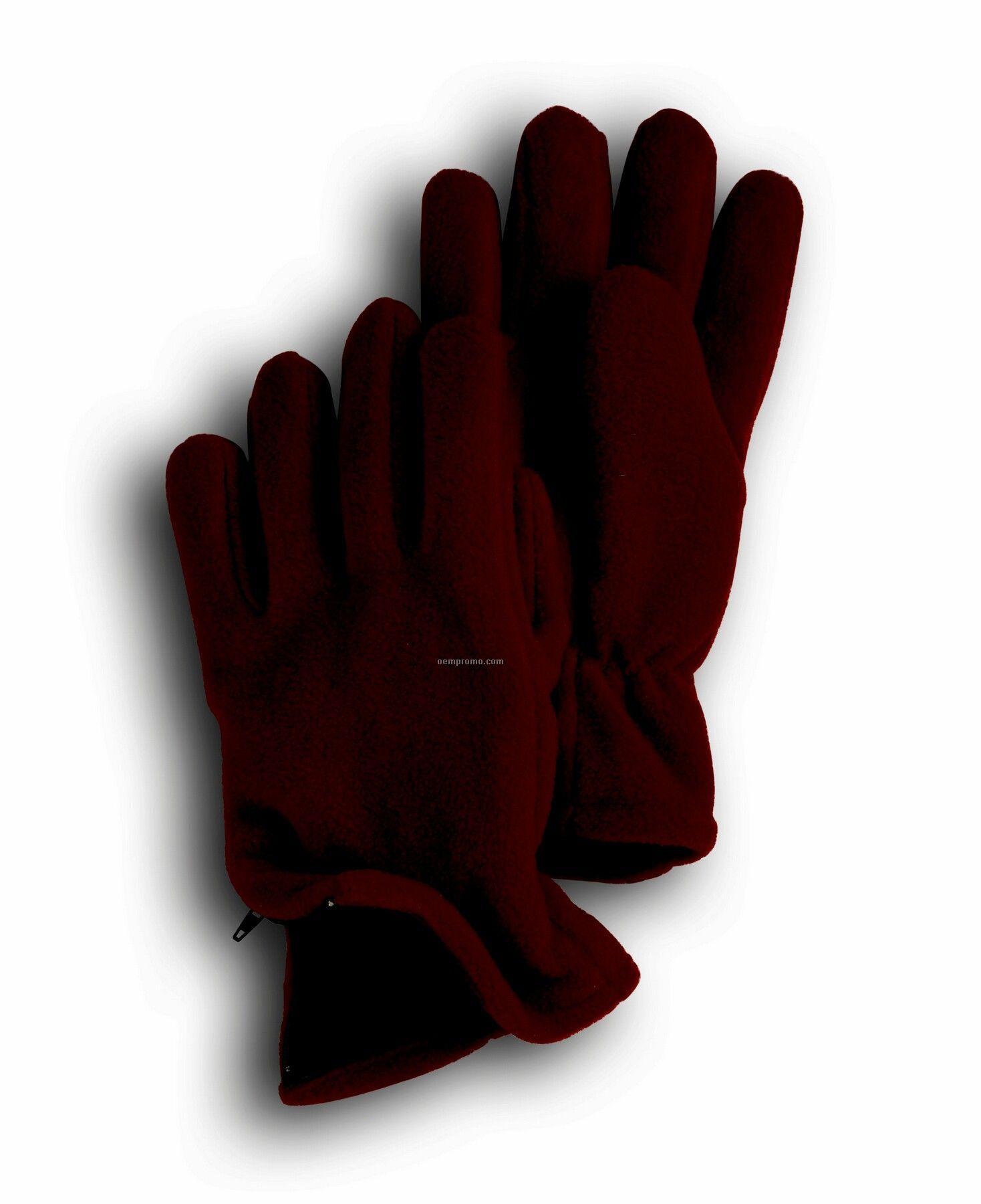 Wolfmark Maroon Fleece Zipper Glove