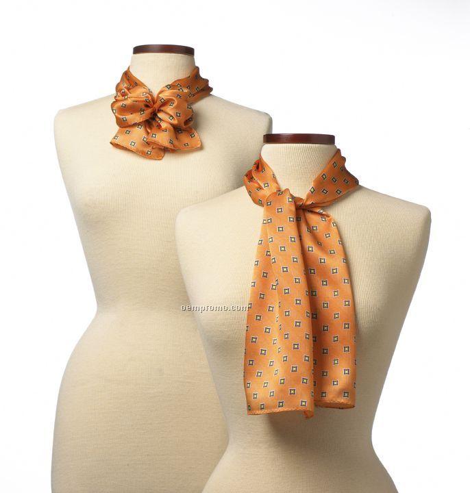 """Wolfmark Orange Vasari Silk Scarf (45""""X8"""")"""