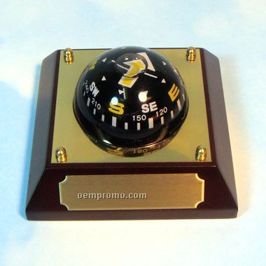 Floating Desktop Compass W/ Brass Plate (Screened)