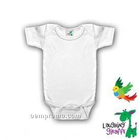 White 100% Polyester Infant Short Sleeve Onesie