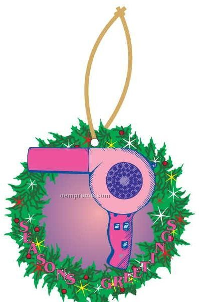 Hair Dryer Executive Wreath Ornament W/ Mirrored Back (3 Square Inch)