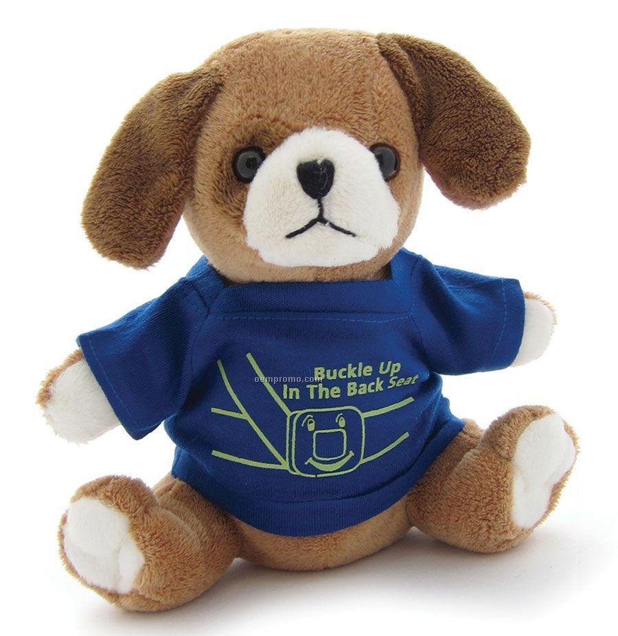 "Sitting Stuffed Beanie Dog With Shirt (6"")"