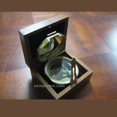 "4"" Brunton Compass With Wooden Box (Screen Printed)"