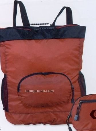 Compact Nylon Backpack/ Tote Bag (Blank)
