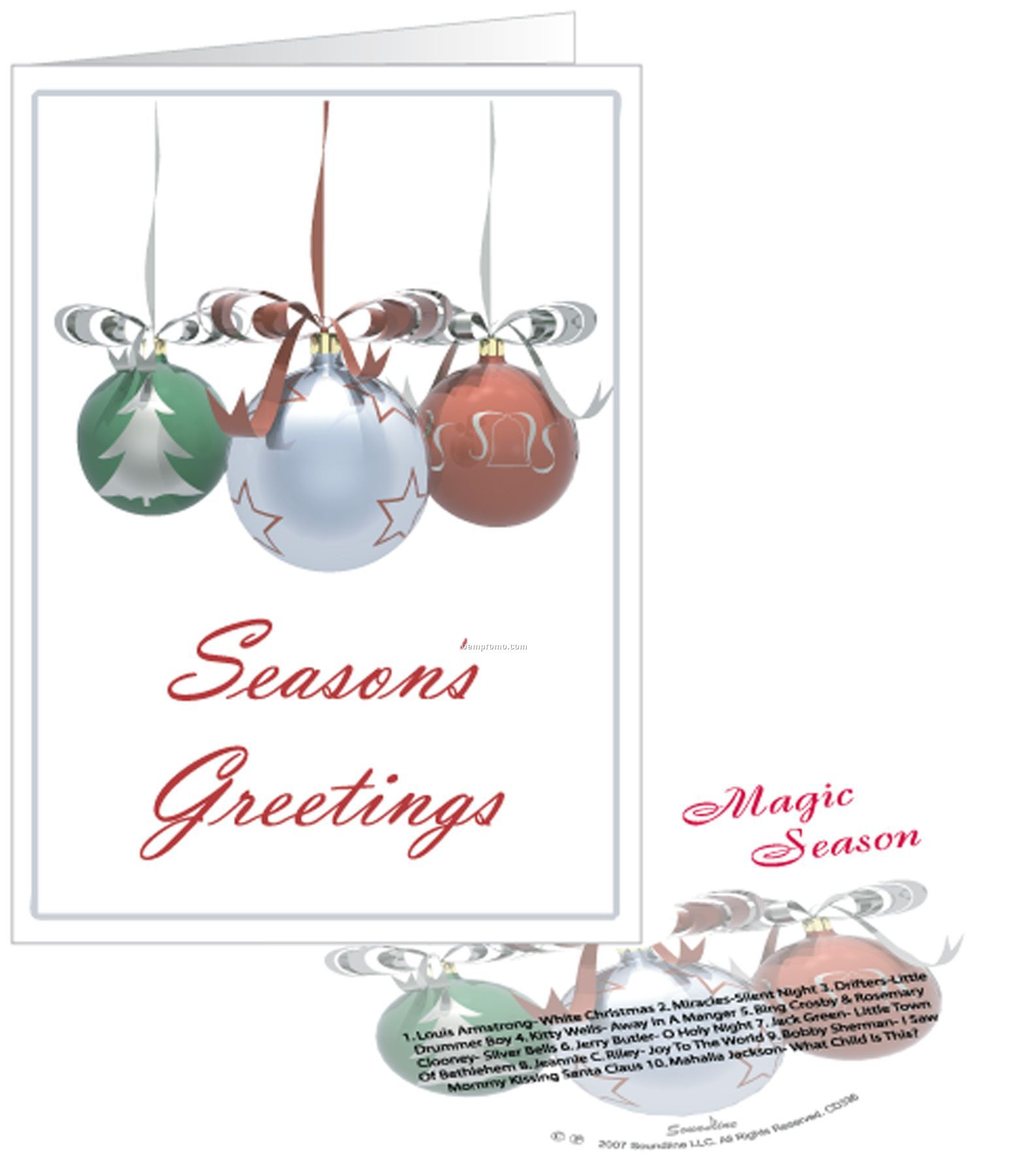 Three Ornaments Season's Greetings Card With Matching CD