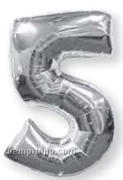 "34"" #1 Solid Silver Number Megaloon Balloon"