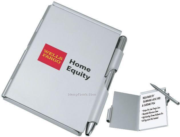 Aluminum Note Pad Set W/ Chrome Ballpoint Pen