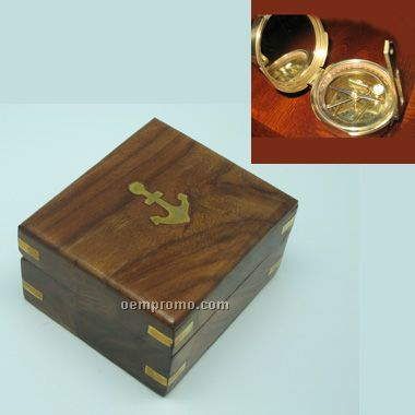"""4"""" Brunton Compass In Wooden Box With Brass Corners.(Screen Printed)"""