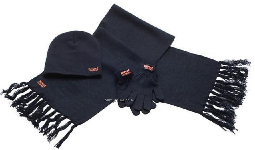 Traditional Winter Hat, Glove & Scarf Set
