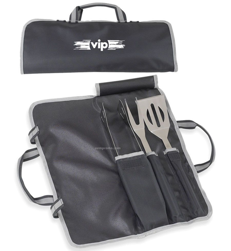 3-piece Bbq Tool Set With Spatula, Tongs & Fork