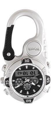 Pedre Ana-digi Matte Silver Finish Clip-on Watch W/ Black Dial