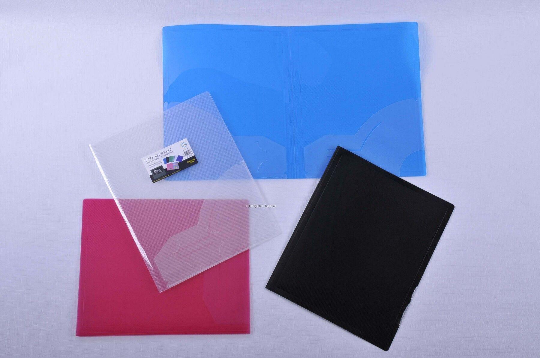 "Translucent Black 2 Pocket Folder (11 1/2""X9 1/2"")"