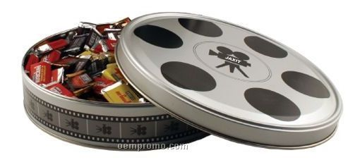 Large Movie Reel Tin W/ Mini Snickers Bars (2 Day Service)