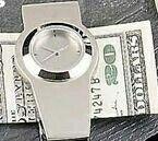 Silver Plated Money Clip W/ Clock
