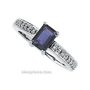 14kw Genuine Iolite And 1/10 Ct Tw Diamond Ring
