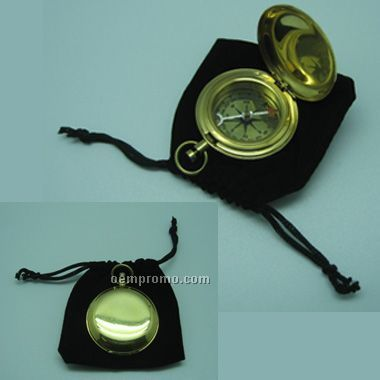 Brass Pocket Compass With Velvet Pouch(Laser Engraved)