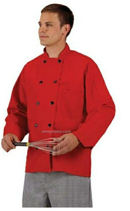 Cook's Fashion Solid Red Chef Coat W/ Plastic Button (S-xl)
