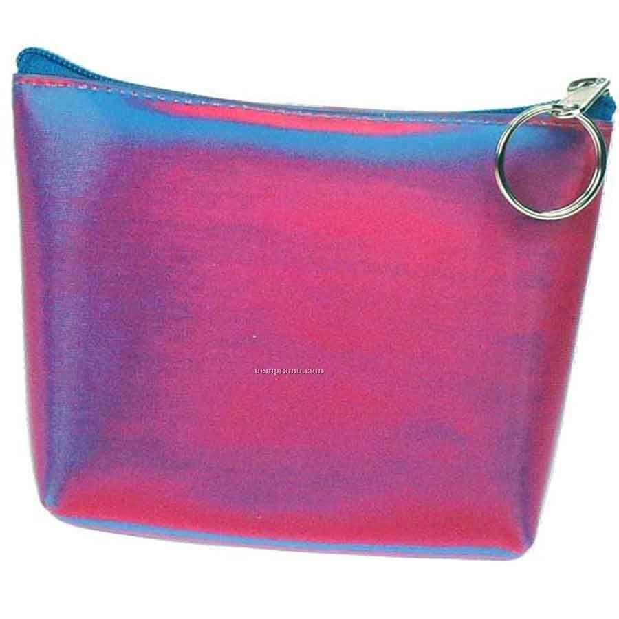 3d Lenticular Purse W/Key Ring Stock / Blue Pink Purple