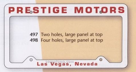 Auto License Frame W/ 4 Holes & Large Top Straight Panel