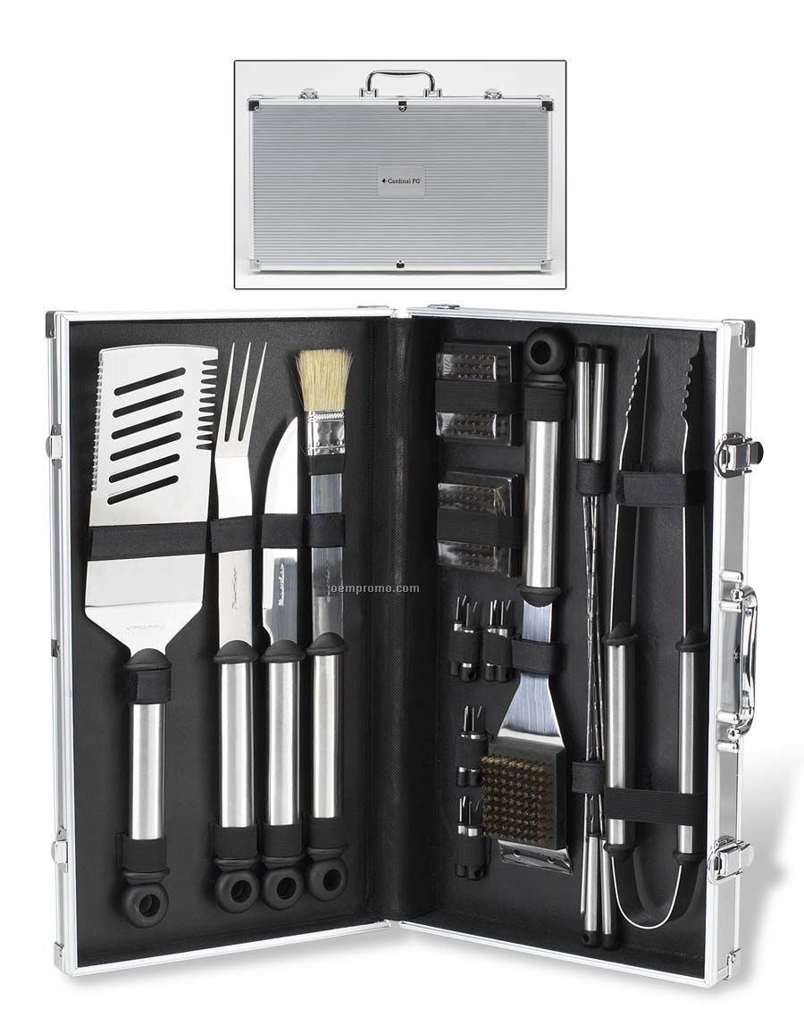 20-piece Stainless Master Griller Barbecue Tool Set With Brush & Spatula