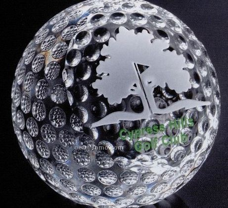 """Sports Gallery Crystal Clipped Golf Ball Sports Award (3 1/8"""")"""
