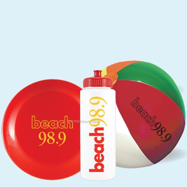 "Bottle Beach Kit - 32 Oz Sports Bottle, 9"" Beach Ball & 9"" Flying Disc In M"