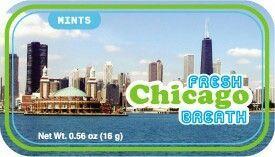 Chicago Fresh Breath Mint Tin W/ 4-color Process Label (72 Mints)