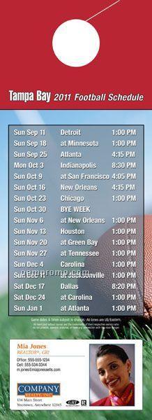 """Tampa Bay Pro Football Schedule Door Hanger (4"""" X 11"""")"""