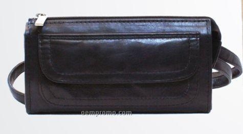 Medium Brown Stone Wash Cowhide Clutch Bag W/ Top Zipper