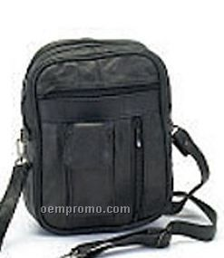 Men's Leather Pouch With Detachable Strap & Double Compartment