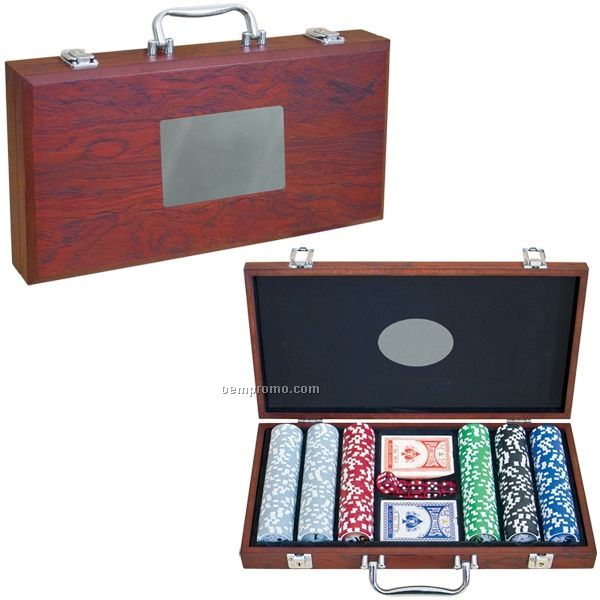 Poker Set W/ Rosewood Finish Case (Printed)